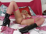 Pink Fishnet Beauty Rubs Her Pussy!