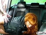 Petite redhead chick exposed her pussy and fucked in a taxi