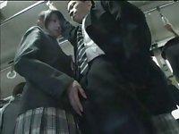 Schoolgirl tease in public