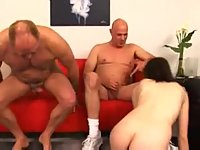 Teen gets cash from mature dudes for bang