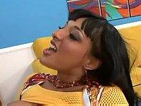 Brunette slut makes hot foot fetish
