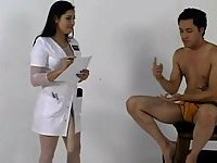Lustful Nurse Shoves Long Strap-On In Guy Ass