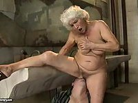 Granny Norma gets cum on boobs