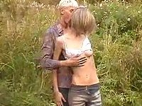 Skinny tart banged and cummed outdoor