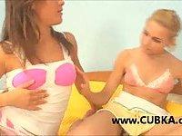 Two teen chicks making love
