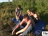 Awesome teen gangbanged outdoor