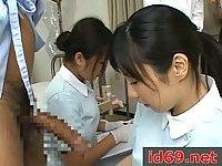 Japanese nurse jerking patient cock