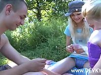 Amateur threesome with teens outdoor