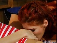 Blonde & redhead babes share a cock