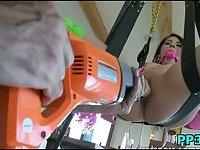Horny sexy slut working on a cock scene 9