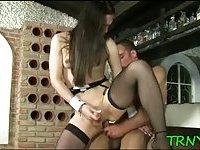 Teen tranny loves huge cock