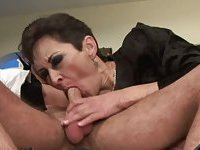 Kinky GILF sucking rimming and riding dude