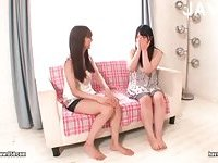 Two sweet asian girls rest