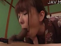 Japanese cute lady blows cock