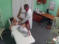 Beautiful patient drilled by doctor in fake hospital
