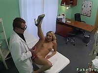 Blonde hottie drilled by doctor in fake hospital