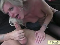 Blonde with small tits in fake taxi drilling
