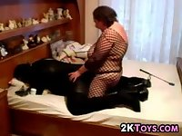 BBW Fucking Her Husband With A Strapon
