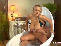 Big boobs blonde milf in the bath