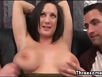 MILF Talked Into A Threesome