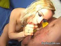 Blonde Russian Teen Gets Cum