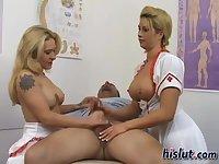 Kinky nurses choke on a stiff boner