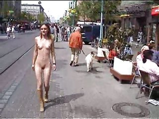 Public striptease of young dolly