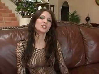 Brunette in fishnet sucks dude rod