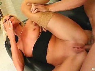 Blonde whore eats cum after anal fuck