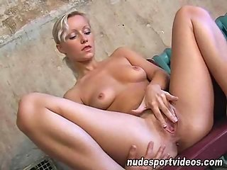 Flexible blond bitch fingering her twat  at passionclips.com