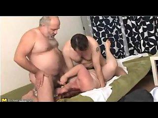 Chubby Mature Gets Two Hard Pricks