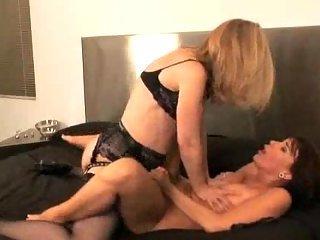 Naughty Lesbian Sluts Strapon Play
