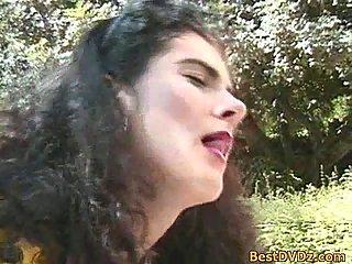 Hot Brunette gets banging at outdoors