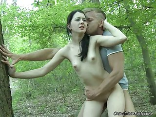 Hot Brunette Rides Cock In The Woods