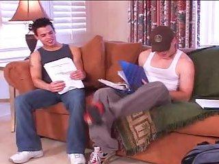 Schoolboys trio on sofa