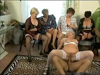 Grannies share cock