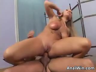 Busty Blonde Gets A Gaping Ass