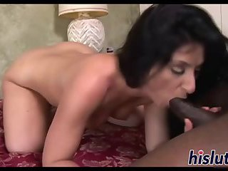 Loud chick receives a thick black shaft